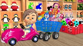 Funny Bunny Animals Shopping At The Supermarket Indoor Playground Play Area for Kids Children