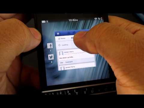 Social Media apps on Blackberry Q10 (shown off)