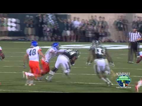 Michigan State's Le'Veon Bell Hurdles Boise State Defender