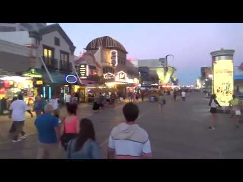 ATLANTIC CITY BEACH AND BOARDWALK SCENE - NJ New Jersey Shore Ocean View Travel Tour Guide