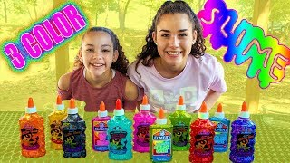 3 Colors Of Glue Slime Challenge!! NEW COLORS!!