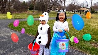 HUGE Easter Eggs Hunt with Frozen Elsa and Olaf