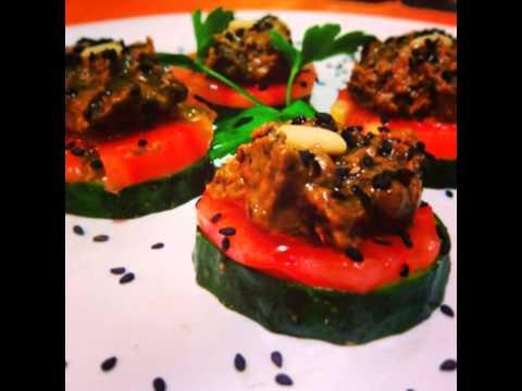 Recetas de cocina vegetariana Canapés de champiñón y olivas