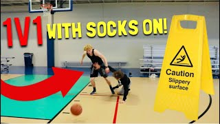 Slippery Socks 1v1 VS My Little Brother!