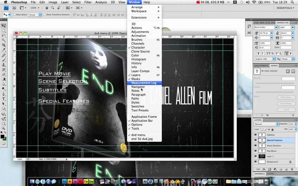 Create a dvd menu in photoshop and adobe after effects for Dvd menu templates after effects