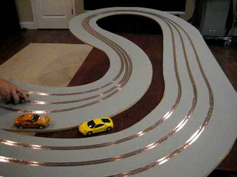 Wood Slot Car Track With Magnetic Primer Youtube