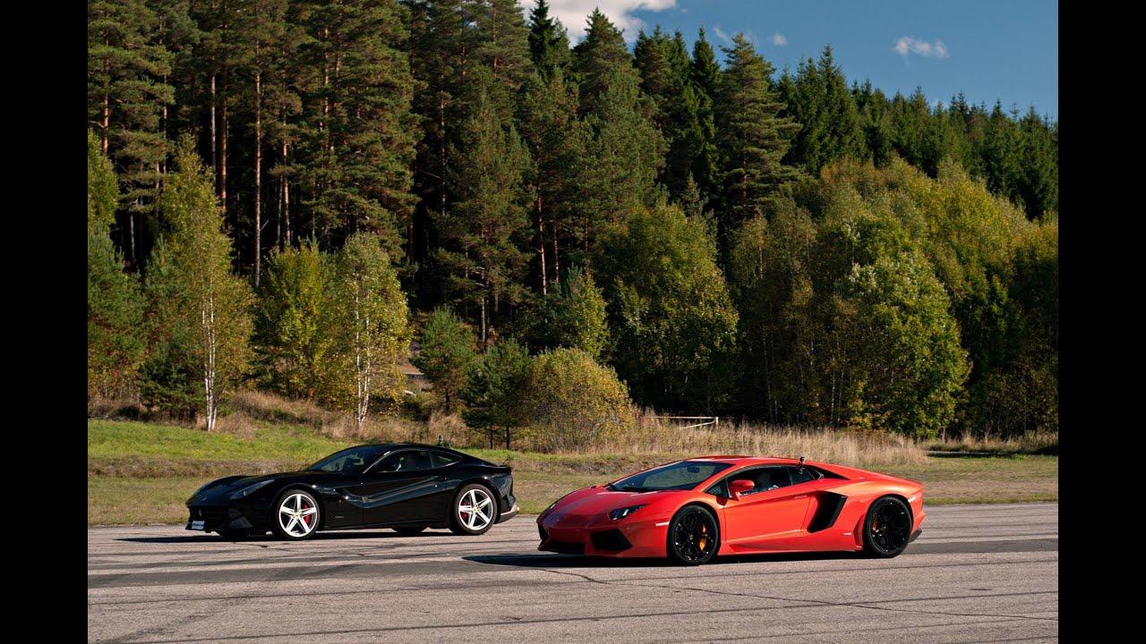 Ferrari F12 vs LP700-4 Lamborghini Aventador x 4 races ...