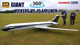 360 PANORAMIC ONBOARD 4K video: GIANT RC VICKERS VC10 AIRLINER 5 METRE! with FOUR micro JET ENGINES