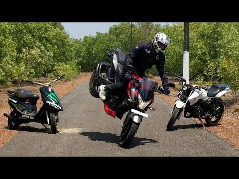 insecure Bike Stunts on Pulsar NS 200 - Apache 180 & Scooty Pep+