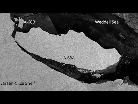 Icebergs A-68A and A-68B drift out to sea, Larsen-C Ice Shelf, Antarctica
