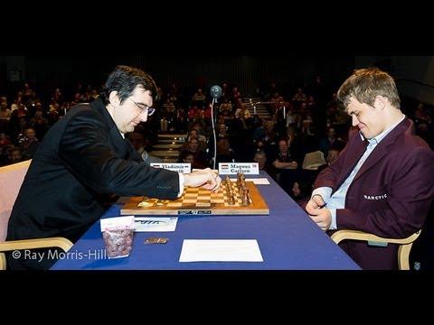 0 - Chess Video | Chess World.net: Vladimir Kramnik vs Magnus Carlsen - London Classic (2012) - English Opening (A37) - Chess & Mind Games