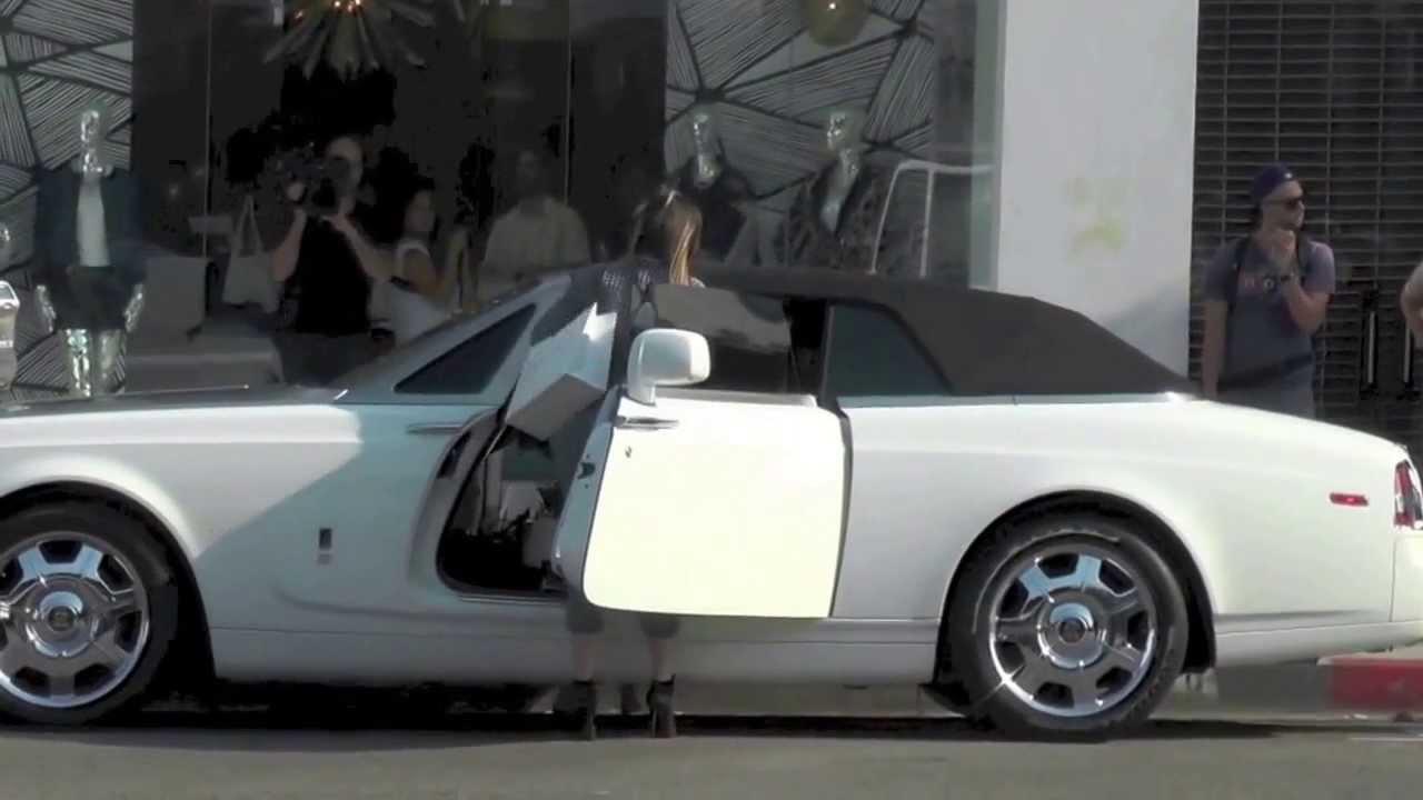 All White Rolls Royce >> WATCH: Khloe Kardashian Spotted in a White Rolls Royce Phantom Convertible - YouTube