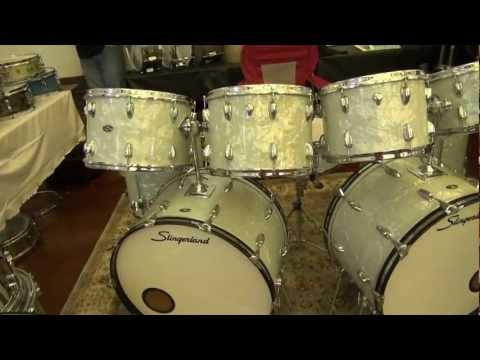 JDG Drums Booth At The 2012 Chicago Drum Show - Vintage Slingerland WMP Double Bass Drum Kit