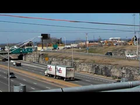 Interstate 40 highway traffic in the Gulch area of Nashville Tennessee