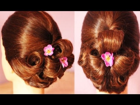 Elegant Pin Flower Updo Hair Tutorial -Beautyklove