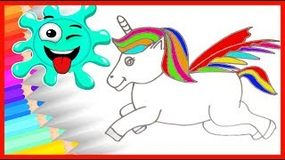 HOW TO DRAW Unicorn Coloring Pages for Kids / Art Colors for Children   🔴 Fun Rainbow