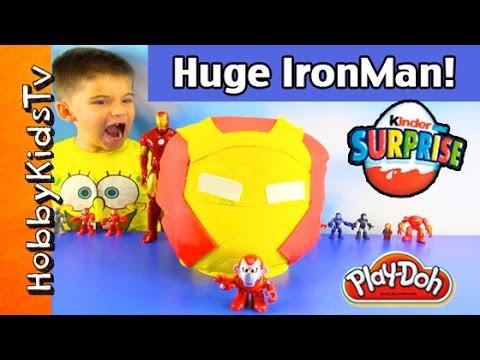 Play-Doh HUGE Ironman Lego Head Makeover + Surprise Egg [Box Open] HobbyKidsTV