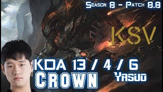 KSV Crown YASUO vs LEBLANC Mid - Patch 8.8 KR Ranked