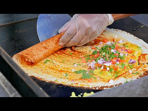 New York Street Food - INDIAN MASALA DOSA and Young Coconut Water