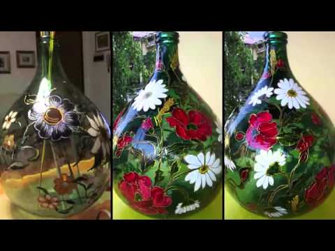 Damigiane in vetro 1 youtube for Decoupage su vaso di vetro