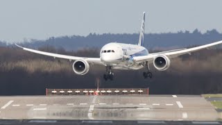 Dangerous Crosswind Landings during a Storm at Düsseldorf - Multiple Aborted Landings