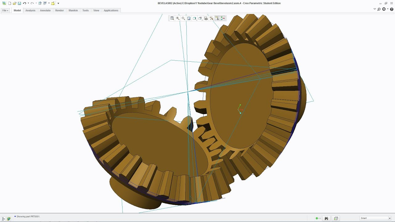 Bevel Gear Animation : Creo tutorial how to draw an involute bevel gear part