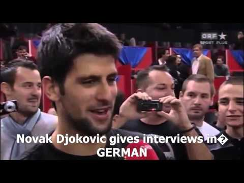 Novak Djokovic gives interviews in several languages