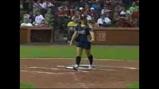 Gymnast Shawn Johnson backflips to First Base in The 2009 Celebrity Softball Game