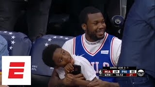 Best Moments From Meek Mill 39 S Day Being Released From Prison And Watching 76ers Win Espn