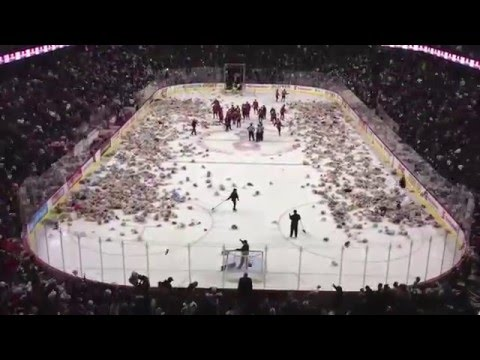 Watch 25,000 Bears Fly at Teddy Bear Toss - Calgary Hitmen 2012