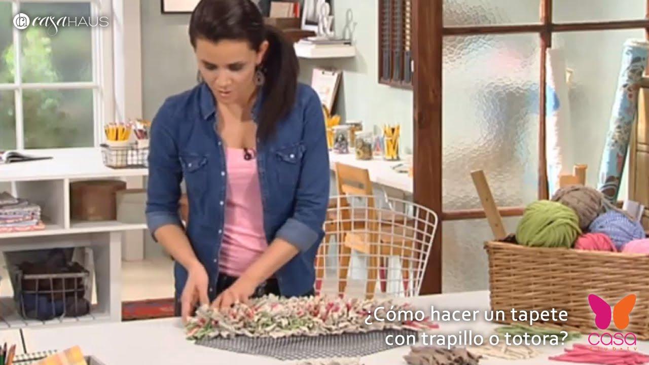 C mo hacer un tapete con trapillo o totora decoraci n - Como hacer alfombras con trapillo ...