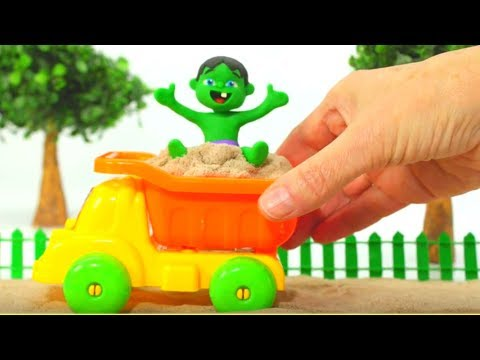 FUNNY KIDS & THE SAND TRUCK ❤  Play Doh Cartoons For Kids