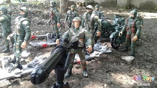 Toy soldiers Army men for children Military vehicles Motorcycle Toy channel