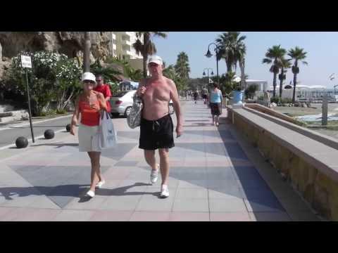 Slow Walking Along Beach From Benalmadena To Torremolinos A Del