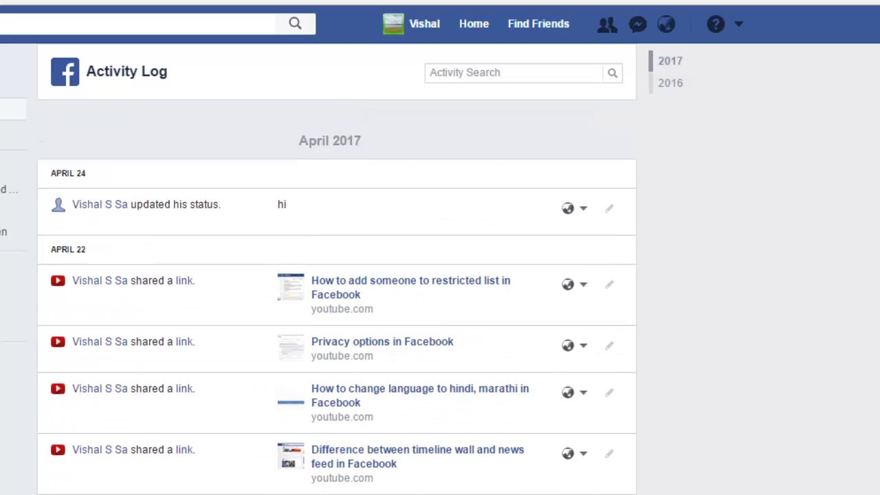 How to view activity log in Facebook - YouTube