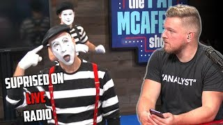 Pat McAfee Surprised By Mimes During Live Show