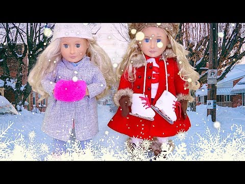 Baby Doll Ice Skating Learning Class! AG, OG Dolls Play Dress up and Doctor Toys