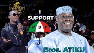 I GO DYE SHOWS SUPPORT FOR ATIKU'S PDP AS HE JOKINGLY BLASTS TINUBU & BUHARI ON STAGE