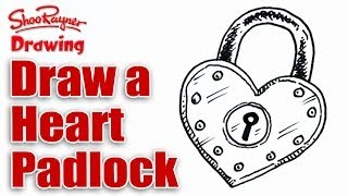 How to draw a heart shaped padlock for Valentines' Day