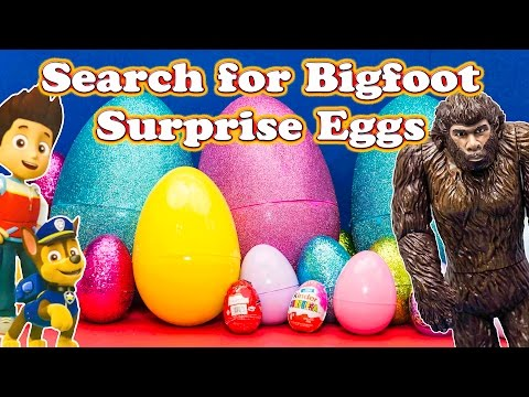 GIANT SURPRISE EGGS Search for Bigfoot with Paw...
