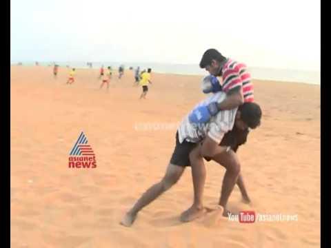 Kerala Wushu team practise in beach : National Games