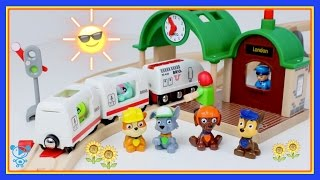 Trains for children video Playing with brio trains & Thomas, Paw Patrol, McQueen - brio train toys