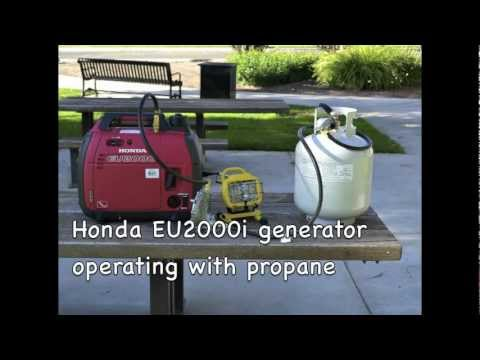 Honda EU2000i generator operating with propane