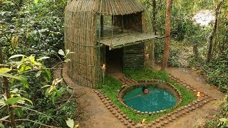 Building The Beautiful Bathtub Pool In Front Relaxing Bamboo House By Wood Decoration