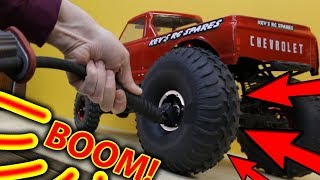 BOOM!! Inflatable RC Tires VS 100psi HPI Wheely King & Traxxas TRX-4 Freestyle + BLOWOUT