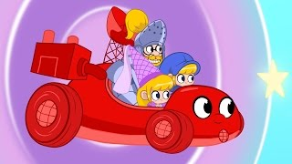 My Red Race Car Morphle Trough Time! Dinosaurs, A Princess, Knights and Dragons!