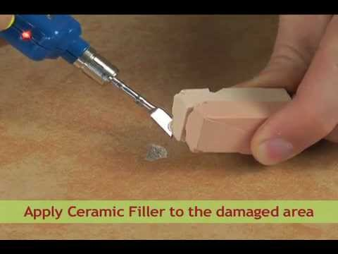 How to repair a hole or chip in a tile youtube for Marble filler repair