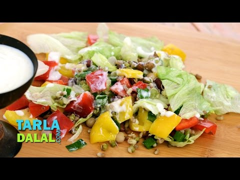 Sprouts and Veggie Salad (Low Calorie, Diabetic & Healthy Heart Recipe) by Tarla Dalal