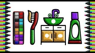 How do drawing instruments dental hygiene for children   Drawing and coloring for Kids   bé yêu