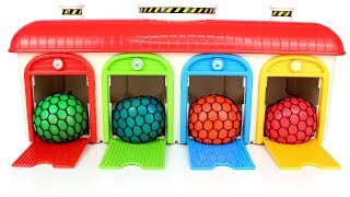 Learn Colors with Squishy Balls Surprise Eggs and Toys Tayo the Little Bus Garage Playset for Kids